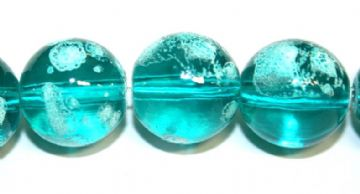 35pieces x 12mm Turquoise colour round shape bubble gum glass beads / speckled glass beads -- 3005118